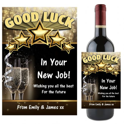 Personalised GOOD LUCK Wine / Champagne Bottle Label Gift Idea N63